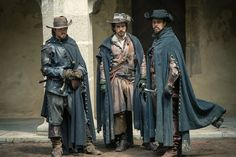 Tom Burke, Santiago Cabrera, and Howard Charles in The Musketeers Aramis And Porthos, Aramis The Musketeers, The Three Musketeers, Tom Burke, Luke Pasqualino, Narnia, Musketeer Costume, Milady De Winter, Got Characters