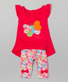 Look at this Nannette Girl Pink Butterfly Tunic & Floral Leggings - Infant, Toddler & Girls on #zulily today!
