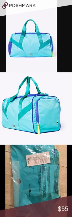 NWT ivivva tournament duffel bag New Brand new, with tags, ivivva tournament duffle bag. Turquoise. Ivivva is the youth line of lululemon. The Same quality and attention to detail goes into their youth line. See last photo for dimensions. Ivivva Accessories Bags