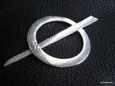 Shawl Pin in Fine Silver with Embossed Fern by jennybuttons