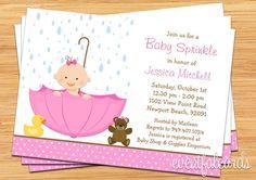 Espolvorear de bebé ducha invitación para chica por eventfulcards