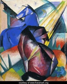 Two Horses  Red And Blue - Franz Marc - www.franzmark.org