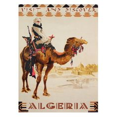 Algeria travel poster - Handmade Leather Wall Hanging by Leather Travel Art