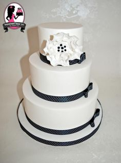 Black and White Polka Dot Wedding Cake by Sensational Sugar Art by Sarah Lou - http://cakesdecor.com/cakes/228495-black-and-white-polka-dot-wedding-cake