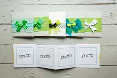 Set di 5 Minibook - Album per foto - Piccoli album con interni pieghevoli per 4 fotografie 10cmx10cm da sfogliare e da appoggiare #fotosintesi #album #handmade #photobook
