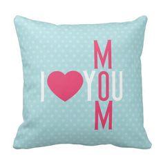 Modern I Love You Mom Throw Pillow