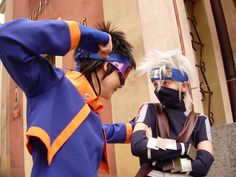 "Obito vs Kakashi by ToraCosplayers on deviantART Kakashi is giving this look like ""seriously you gonna go there"""
