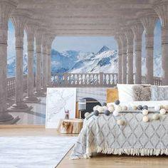 Canora Grey White Elegance 2.8m x 400cm Wallpaper & Reviews | Wayfair.co.uk Buy Wallpaper Online, 3d Wallpaper For Walls, Photo Wallpaper, Cool Wallpaper, White Elegance, Snowy Mountains, Grey And White, Wall Murals, Beautiful Homes