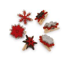 Dekoklammern. 6-er-Set. Diese kleinen Holzklammern mit Filzmotiven verschönern Geschenke und Karten oder schmücken mit ihren filigranen Mustern kleine Gestecke und Gebinde!