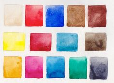 Jane Blundell: Watercolour and gouache choices - some of my palettes painted out.