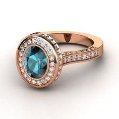 Oval London Blue Topaz 14K Rose Gold Ring with Diamond   Melanie Ring   Gemvara