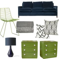 green, lime, decorating, furniture, design, #colortrend, gray, painted furniture, modern, dresser, lamp, chair, pillows, sofa, navy blue, black