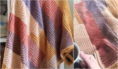 This pattern has all the charm of a patchwork blanket, but is worked as a single, continuous piece and requires no fastening of squares nor does it leave the pesky problem of multiple ends to tie off. The self striping yarn provides all of the colour pattern, so you do the crochet, and the colours make themselves.