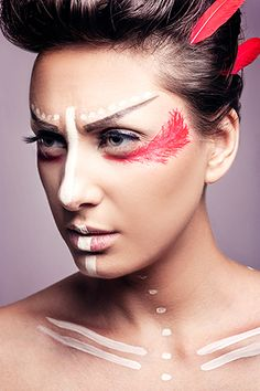 Andreea Iancu Photography. Beauty shot with  feather aztec inspired makeup