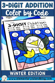3-digit addition can be fun when you add in color by number! This winter edition color by code is great for small groups and centers. Students will have fun learning by coloring the winter themed worksheets. The 3 digit addition with and without regrouping printables are differentiated based on your students' needs. Each student can work on their level on these activities! Perfect for 2nd grade, but can be used in 1st and 3rd grade. #3digitaddition Elementary Education Activities, Teaching Activities, Hands On Activities, Winter Activities, Teaching Math, Fun Learning, Teaching Ideas, Addition Activities, Subtraction Activities