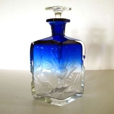 Moser Cobalt Blue Intaglio Decanter Bottle Large Perfume Bohemian Glass