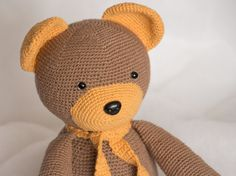 This crochet teddy is made with 100% wool yarn and stuffed with fiberfill, which absolutely safe for children. Accessories – plastic eyes & nose. Cute crochet bear can be a great gift for you or your friends. This also is a wonderful toy for kids. Height approximately 24 cm (9,5) sitting. Weight approximately 410 g. You can order a teddy of any color The order is made out within 7 – 10 working days. Not recommended for children under 3 years as plastic eyes can be a choking hazard. The co...