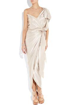 Lanvin | White Asymmetric Silk-satin Wrap Gown | Lyst