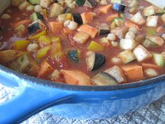 Moroccan Vegetable Stew--these vibrant colors were captured before simmering the vegetables. Moroccan Vegetable Stew, Moroccan Vegetables, Moroccan Stew, Fodmap Recipes, Paleo Recipes, Paleo Food, Turnip Soup, Vegan Stew, Veg Soup