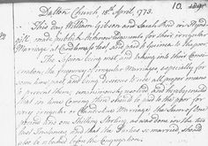 Old Parish Registers – Marriages and Proclamation of Banns (this image is of an acknowledgement of a couple's irregular Scottish marriage in 1773. Other images on this site include parish registers and marriage contracts.)