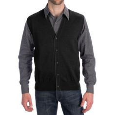 Toscano Tipped Merino Wool Sweater Vest - Zegna Barrufa, Button Front (For Men) - Save 60%