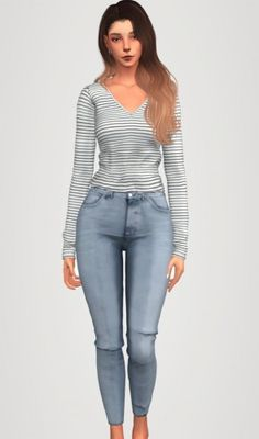 Striped long sleeve top & denim jeans by Elliesimple for The Sims 4