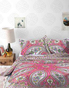 Pink Paisley Mandala Tapestry / Mandala Wall Hanging / Mandala Bedspread