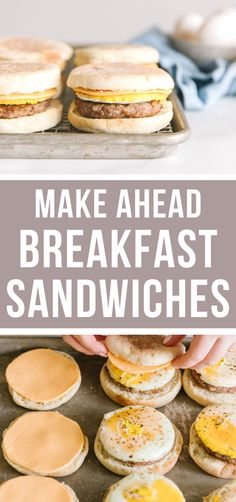 These make ahead breakfast sandwiches are the perfect breakfast freezer meal! They're easy to make, super convenient, and taste good whether fresh or from the freezer! #easy #makeahead #freezermeals #breakfast   happymoneysaver.com Freezable Meals, Chicken Freezer Meals, Freezer Friendly Meals, Healthy Freezer Meals, Freezer Cooking, Freezer Recipes, Frugal Meals, Easy Camping Breakfast, Camping Food Make Ahead