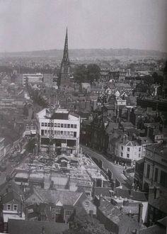 Shrewsbury Market Hall under construction on the 1960's