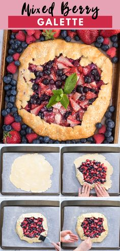 Mixed berry galette is a rustic free form pie that can be made with fresh or frozen berries. This fruit galette is made with an all butter puff pastry crust that is easier to make than a traditional fruit pie! Easy Pie Recipes, Easy No Bake Desserts, Tart Recipes, Best Dessert Recipes, Desert Recipes, Easy Desserts, Baking Recipes, Sweet Recipes, Delicious Desserts