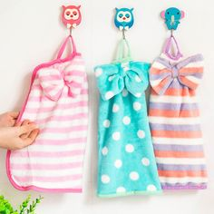 New Super Absorbent Soft Velvet Bowknot Hanging Towel Coral Fleece Kitchen Cloth Towel Free Shipping