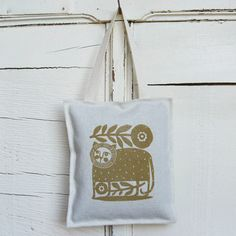 """Bird Cafe Textiles"". Who wouldn't want this hanging from a doorknob in their home?"