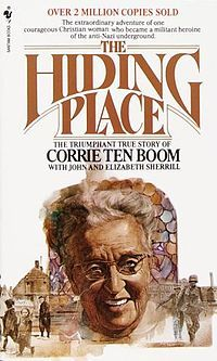 Corrie ten Boom was a Dutch Christian, whose family helped many Jews escape the Holocaust during WWII. Her family was arrested in 1944, and her father died 10 days later at Scheveningen prison. A sister, brother & nephew were released, but Corrie and her sister Betsie were sent to Ravensbruck concentration camp, where Betsie died. Ten Boom wrote many books and spoke frequently about her experiences. Her autobiography, The Hiding Place (1971) was later adapted as a film of the same name in 1975.