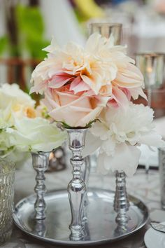 #dahlia #rose and #peony centerpieces served up on a silver platter | Photography by closertolovephotography.com, Floral Design by http://www.invitingoccasion.com  Read more - http://www.stylemepretty.com/2013/08/19/san-juan-capistrano-wedding-from-closer-to-love-photography/