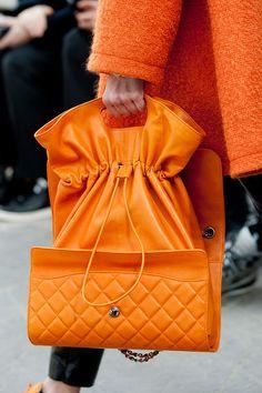 An Orange Convertible Bag at Chanel Fall 2014 - Best Runway Bags Paris Fashion Week Bags #PFW