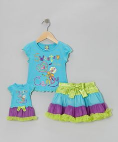 Take a look at this Blue 'Candy' Skirt Set  Doll Outfit - Toddler  Girls by Dollie  Me on #zulily today!