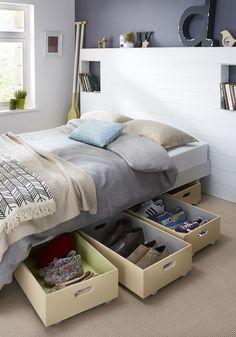 Aprovechar el espacio bajo la cama. Espacio de guardado. Trucos para ahorrar espacio.