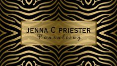Modern Glam Black and Gold Zebra Stripes Pattern Business Cards