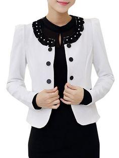 Color Block Elegant Round Neck Blazers #ClothingOnline #PlusSizeWomensClothing #CheapClothing #FashionClothing #womenswear #sexydress #womensdress #womenfashioncasual #womensfashionforwork  #fashion #womensfashionwinter