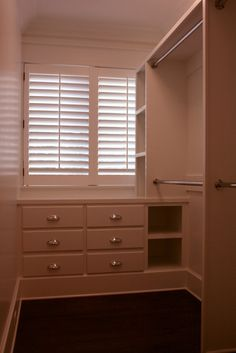 Small Walk In Closet Design, Would be great to make the door off the sunroom a half window like this so there is light in the closet.