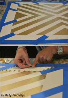 Gold Painted Patterned Canvas How To by TwoThirtyFiveDesigns.com