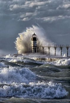 The powerful crash and churn of Lake Michigan waves against the lighthouse at St Joseph, Michigan, USA No Wave, St Joseph Michigan, Michigan Usa, Michigan Travel, Beautiful Places, Beautiful Pictures, Beautiful Ocean, Beautiful Life, Amazing Places