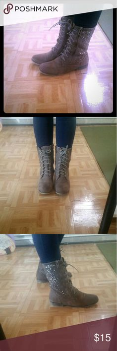 Soft sparkly lace up combat boots These are so cute! Almost like a suede look gray combat boot with sparkle accents on side. Man-made materials, women's size 9. Great with jeans, leggings, or a dress! Shoes Combat & Moto Boots