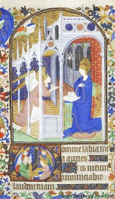Zvěstování ~ Annunciation; Kniha hodinek, kolem 1425-1430, Francie, Paříž; The Morgan Library & Museum