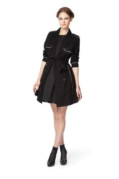 Trench coat in black, also available in navy, $54.99 Flared dress in black with nude patent belt, $59.99