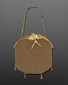 Art Nouveau 18k Yellow Gold Mesh Sculpted Swallow Evening Bag By LaCloche Freres | JV