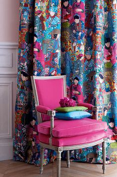 Manuel Canovas 2013 - curtain is Voyage en Chine in Turquoise
