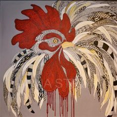 """Alpha rooster"" Original painting by Anna Strøm 100x100 cm, Acrylic paint, canvas,acrylic, contemporary, contemporaryart, modern ,modern art, gallery, wall decor, painting,  canvas,picture Modern Art, Contemporary Art, Decorating With Pictures, Canvas Pictures, Painting Canvas, Animal Paintings, Rooster, Original Paintings, Gallery Wall"