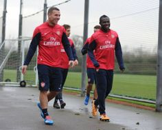 Podolski & Frimpong Head for Training Before Match vs Manchester City 2013-2014.
