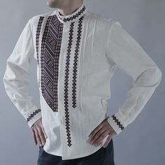 Men's shirt with wine-brown embroidery pattern by GNatelier